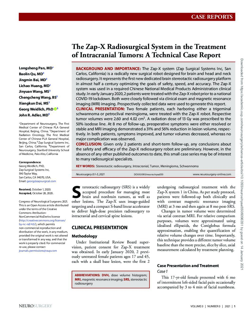 zap-x-radiosurgical-system-in-the-treatment-of-intracranial-tumors